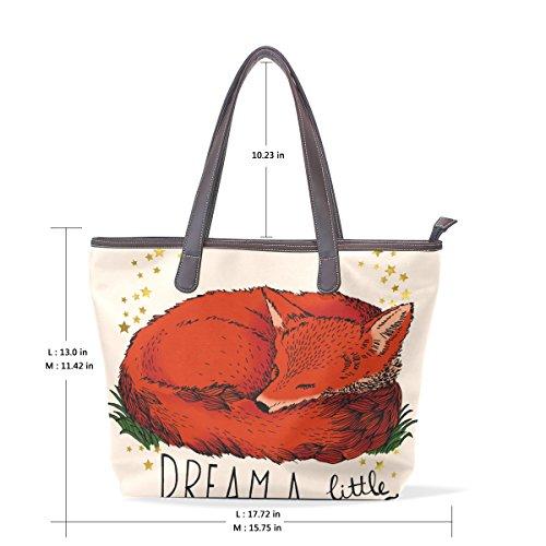 Bag Borsa Tracolla Fox Elaborazione Womens A Dell'unità Red Di Cuoio 40x29x9 Cm Citazione Coosun Tote Muticolour M Impugnatura Grande 4wqCcP7w