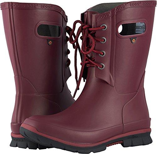 Bogs Women's Amanda 4-Eye Solid Rain Boot, Burgundy, 7 M US (Boots Womens Rain Solid)