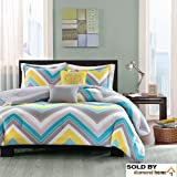 5pc Full Queen Zig Zag Chevron Comforter Set Teenage Girls or Adults, Medallion Decorative Pillows, Turquoise Yellow Gray Blue White Aqua Grey Chic Bright Vibrant Colorful Design