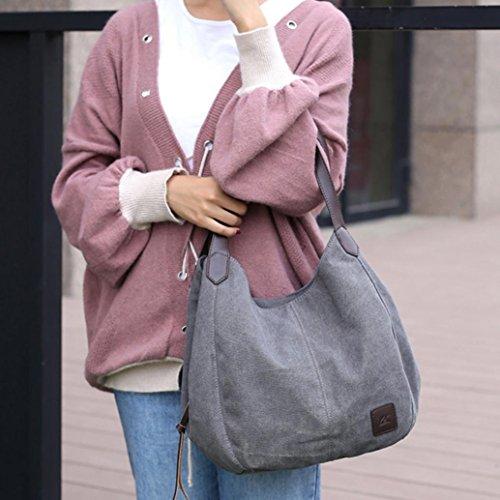Saingace Frauen Leinwand Handtaschen Vintage hohe Qualität weibliche Hobos einzelne Umhängetaschen Schulter Messenger Bag Satchel Tote Bags Grau V73nwJ