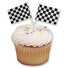 DecoPac Checkered Flag DecoPic Cupcake Picks (12 Count)