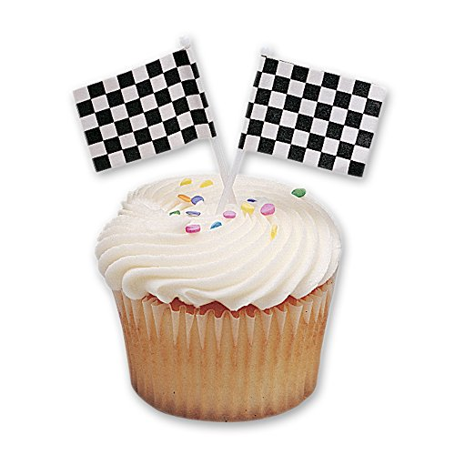 DecoPac Checkered Flag DecoPic Cupcake Picks (12 Count)