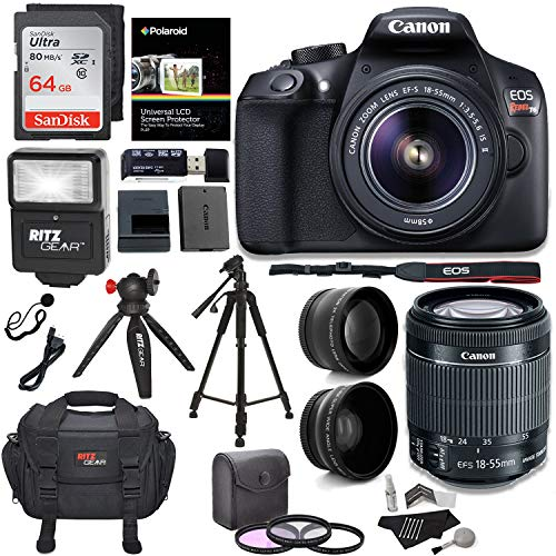 Canon EOS Rebel T6 Digital SLR Camera Kit with EF-S 18-55mm f/3.5-5.6 IS II Lens + Polaroid .43x Super Wide Angle & 2.2X HD Telephoto Lens + 50″ & 8″ Polaroid Tripods + Memory Cards + Accessory Bundle