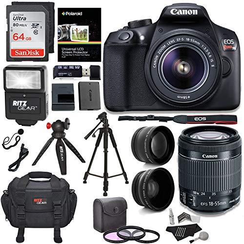 Canon Eos Rebel T6 Digital Slr Camera Kit With Efs 1855mm F3556 Is Ii Lens Polaroid 43x Super Wide Angle 22x Hd Telephoto Lens 50 8 Polaroid Tripods