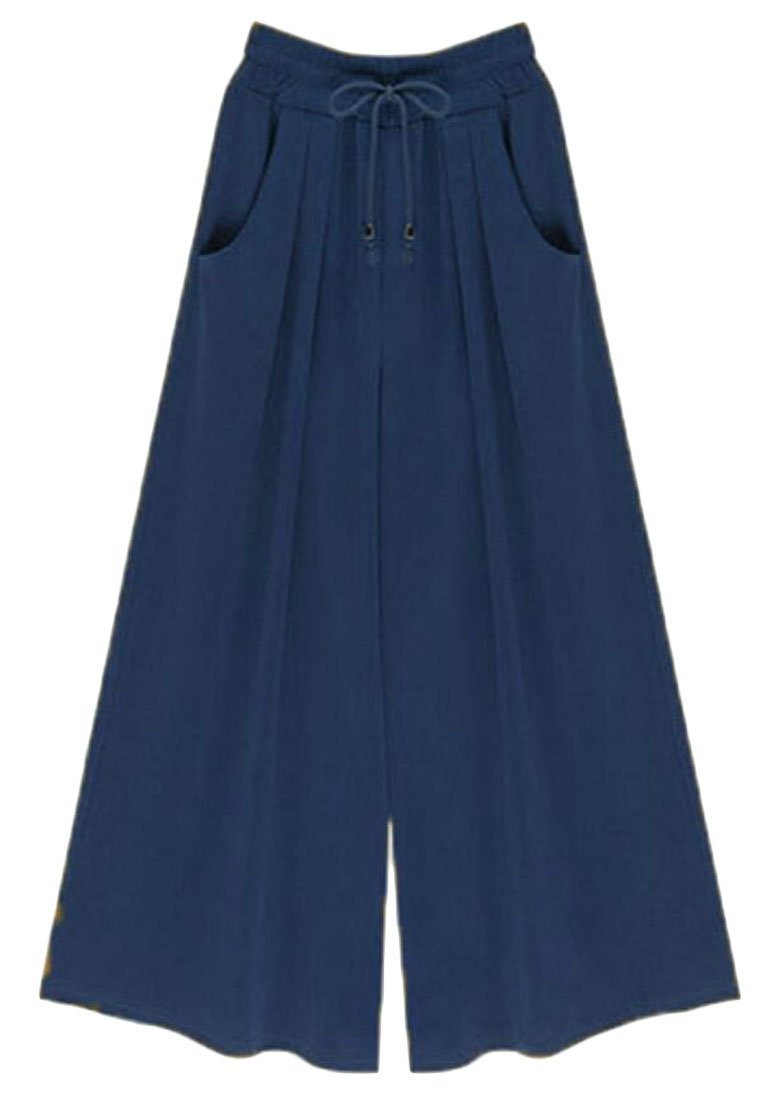 Pivaconis Women's Drawstring Solid Wide Leg Plus Size Palazzo Pants with Pockets