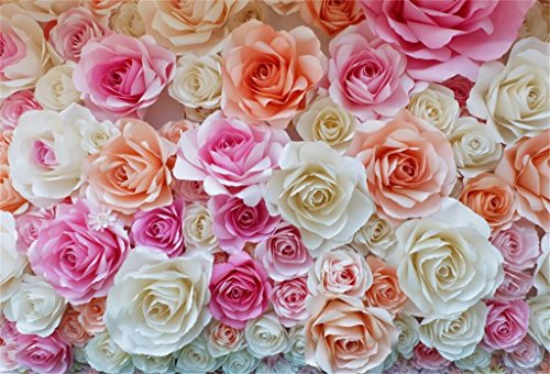 AOFOTO 6x4ft Birthday Backdrop Pretty Paper Flowers Photography Background Girl Kid Baby Shower Artistic Portrait Party Decoration Wedding Photo Shoot Studio Props Video Drop Vinyl Wallpaper by AOFOTO