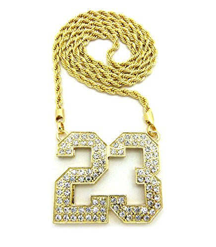 (Jersey Number 23 Iced Out Pendant with Chain Necklace - 5mm 30