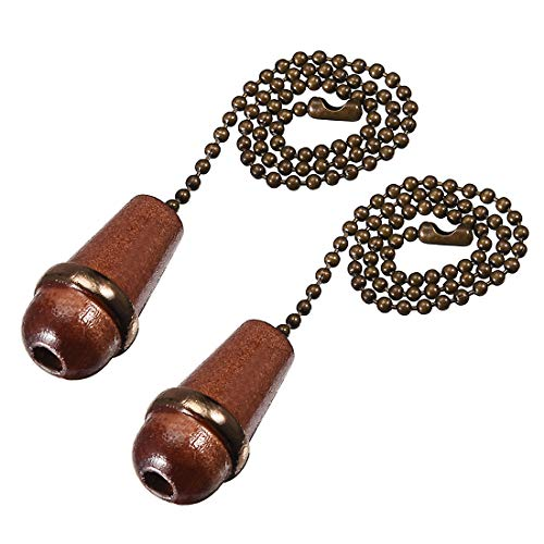 uxcell Walnut Wooden Cone Pendant 12 inch Antique Brass Pull Chain for Lighting Fans Pack of 2