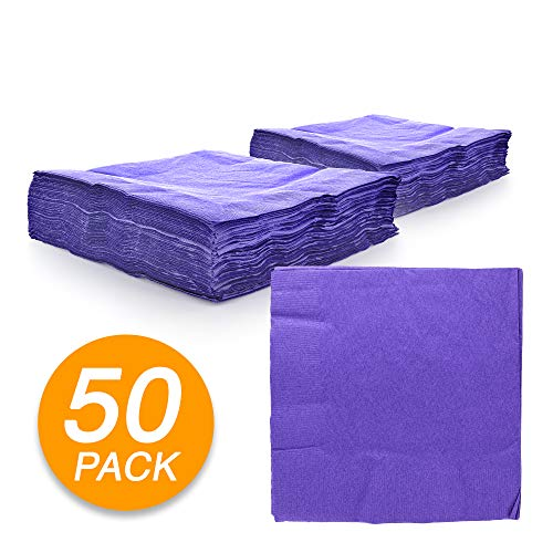Amcrate Big Party Pack 125 Count Purple Beverage Napkins - Ideal for Wedding, Party, Birthday, Dinner, Lunch, Cocktails. (5