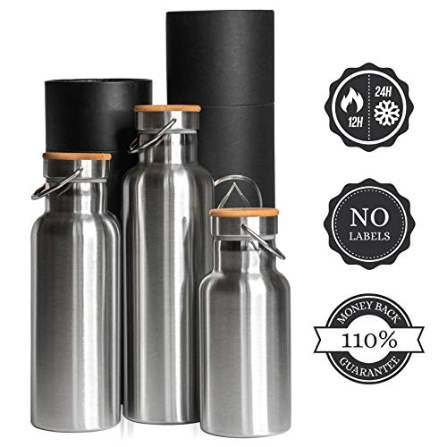 PureDesign  Thermal Insulated Water Bottle 25oz. Water Bottle Stainless Steel Double Wall for Hot or Cold Beverages 500ml/750ml/1000ml - Outdoor Sports, Leak & Sweat Proof Bamboo Cap. - Logo Water Bottle