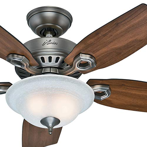 Hunter Fan 44 inch Traditional Antique Pewter Indoor Ceiling Fan with Bowl Light Kit w/Linen Glass (Renewed) ()