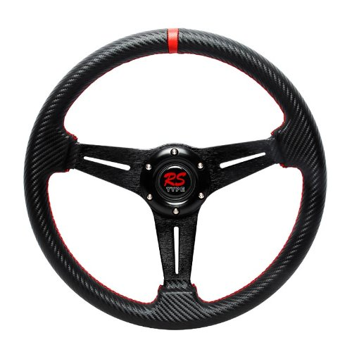 (320mm Drifting Style with Carbon Fiber Style PVC Leather Steeling Wheel with Red Stitchings)