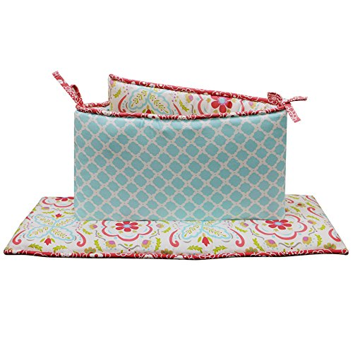 Gia-Floral-and-Ogee-Coral-and-Aqua-Baby-Girl-Crib-Bumper