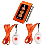 SINGCALL® Home Caring Alarm System,Nurse Call,Oval Rounded Shape with Lightweight, More Convenient,Fit for Old, Patients or Children,Include A Caregiver Receiver(SC-R16) and 2 Necklace Pagers(APE160).