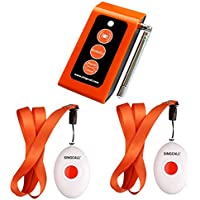 SINGCALL Home Caring Alarm System,Nurse Call,Oval Rounded Shape with Lightweight, More Convenient,Fit for Old, Patients or Children,Include A Caregiver Receiver and 2 Necklace Pagers(APE160).