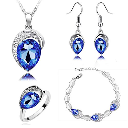 MAFMO Women Water Drop Jewelry Set Party Wedding Necklace Bracelet Earrings Ring (Dark Blue)