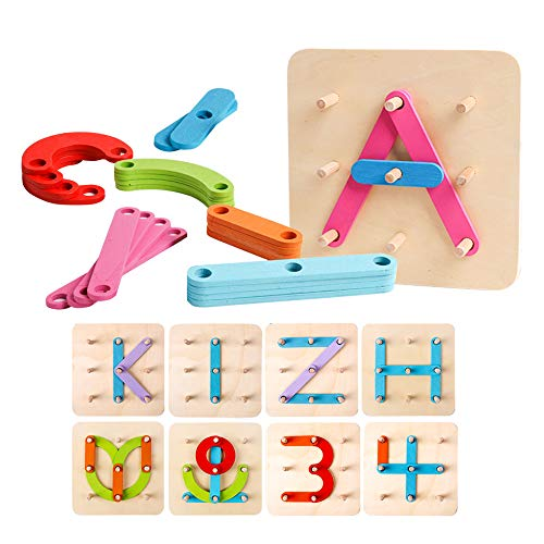 (kizh Wooden Letter and Number Construction Activity Set Educational Preschool Toys Shape Color Recognition Pegboard Sorter Set Board Blocks Stack Sort for Toddler Kids Boys Girls Non-Toxic Toy)