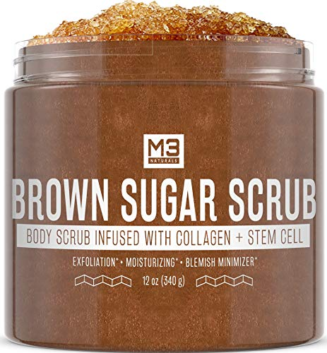 M3 Naturals Brown Sugar Body Scrub Infused with Collagen & Stem Cell – Best Exfoliating Body & Face Scrub for Acne Scars…