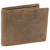 StarHide RFID Blocking Mens Real Distressed Hunter Leather Wallet 1060