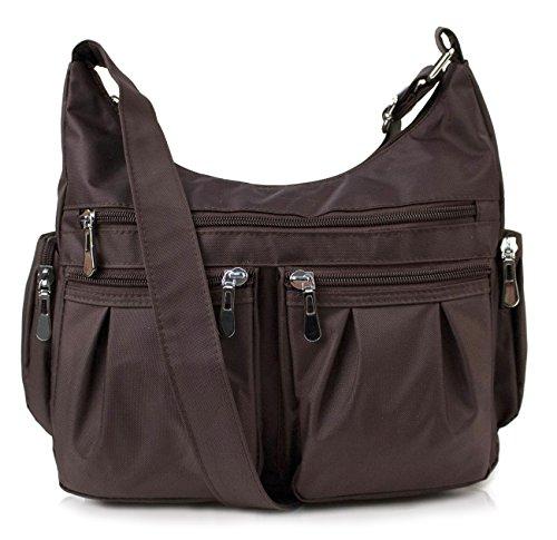 Scarleton Multi Pocket Shoulder Bag H140721 - Coffee (Fabric Handbags)