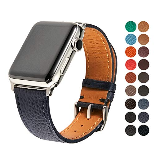 Italian Leather Cell Phone Strap - SONAMU New York Italian Caviar Premium Leather Strap Compatible with Apple Watch Band 38mm, Stainless Steel Clasp, Navy