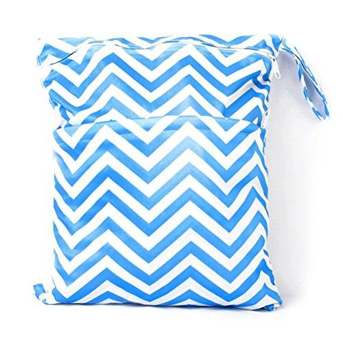 PIXNOR Welle Muster abwaschbar wiederverwendbar wasserdichte RV Baby Tuch Windel Windel Tasche nass-trocken-Tasche Tote mit weichen ausrichten Griff (blau)