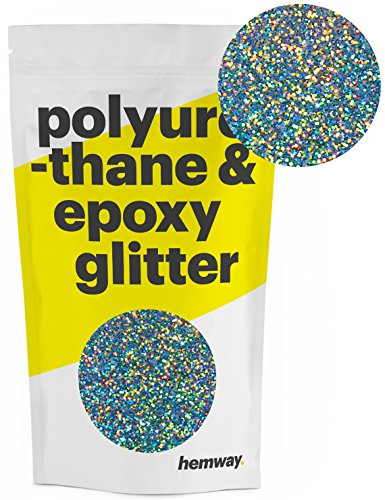 Hemway Metallic Glitter Floor Crystals for Epoxy Resin Flooring (500g) Domestic, Commercial, Industrial - Garage, Basement - Can be Used with Internal & External (Gun Metal Grey Holographic)