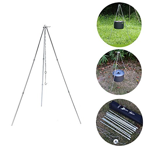 Cooking Campfire Foldable Tripod Camping Picnic Fire Oven Shelf Pot Pan Holder by Homebeast