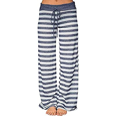 LYN Star Women's Comfy Casual Pajama Pants Stripe Print Drawstring Palazzo Lounge Pants Wide Leg Sleep Pant