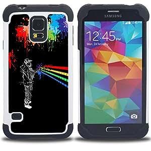 """SAMSUNG Galaxy S5 V / i9600 / SM-G900 - 3 en 1 impreso colorido de Altas Prestaciones PC Funda chaqueta Negro cubierta gel silicona suave (Arte urbano Colores"""")"""