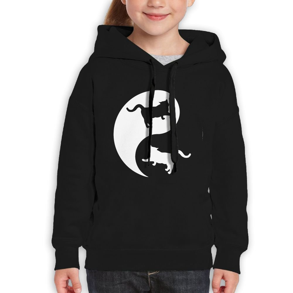 YUTaf Yin and Yang Cats Girls Boys Teens Cotton Long Sleeve Cute Sweatshirt Hoodie Unisex