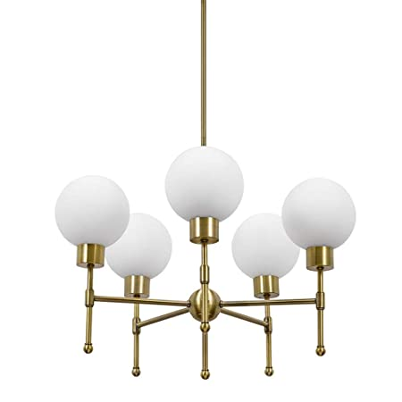 Rivet Mid-Century Modern Opal Glass Globe Hanging Ceiling Pendant Chandelier Fixture With 5 LED Light Bulbs – 25 x 25 x 52.5 Inches, Gold