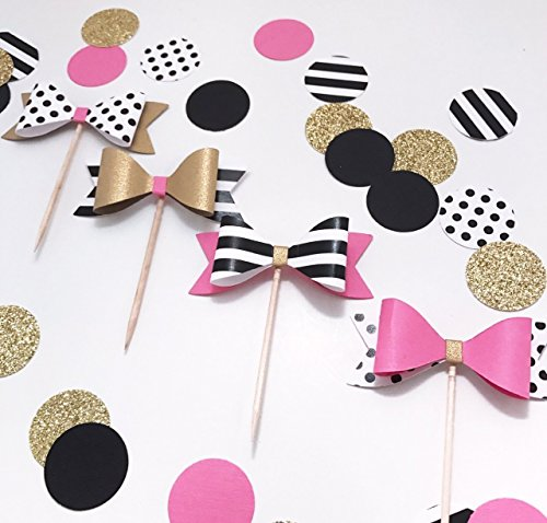 Set - 4 Bow Cupcake Toppers, Bridal Shower Cupcake Topper, Paris Party Cupcake Topper, Hot Pink Cupcake Topper, Wedding Topper, Bachelorette Party, Baby Shower Cupcake Topper, Engagement Topper]()
