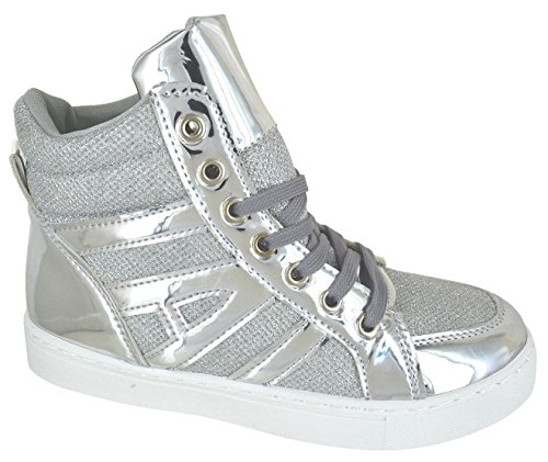 KOLLACHE Ladies High Top Trainers Womens Lace up Shiny Sport Shoes Silver zbf5F