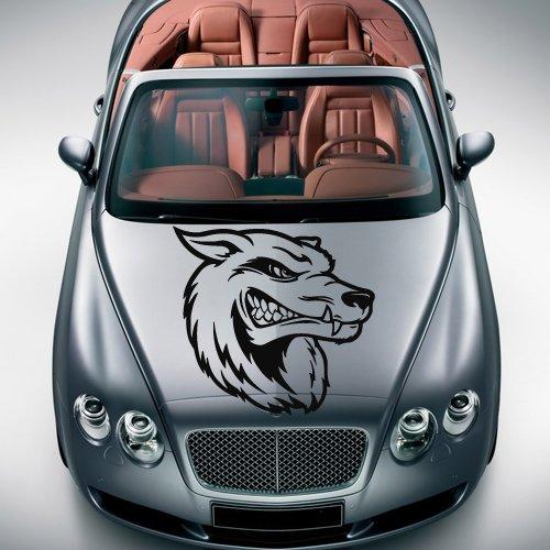 Car decal hood sticker wall art graphics paint auto truck design wolf predator animal head (m1192)