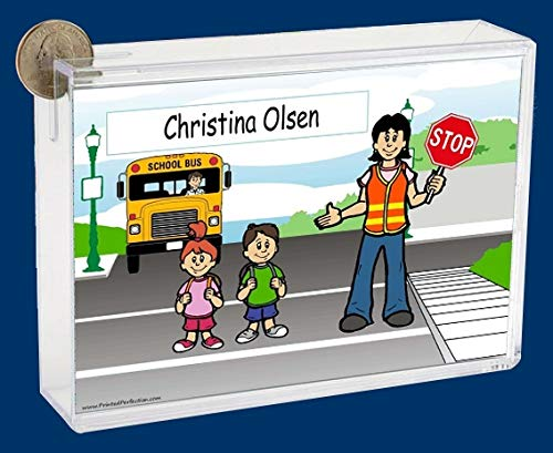 Personalized NTT Cartoon Side Slide Frame Gift: Crossing Guard Worker Female Gift, School Crossing Guard, Saftey