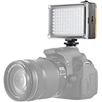 Aoonar On Camera Video Light Led Lighting for Canon Nikon Sony DSLR Camera Camcorder,Fill-in White and Orange Filters Light Panel,with Rechargeable 2500mAh Battery