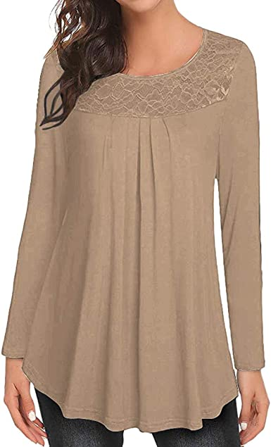 ZODOF Moda Camisa de Blusa de Manga Larga con Remiendo de Encaje sólido con Cuello en Pico o con Volantes para Mujer Blusa de Encaje Casual Algodón Suelto Tops Camiseta: Amazon.es: Ropa