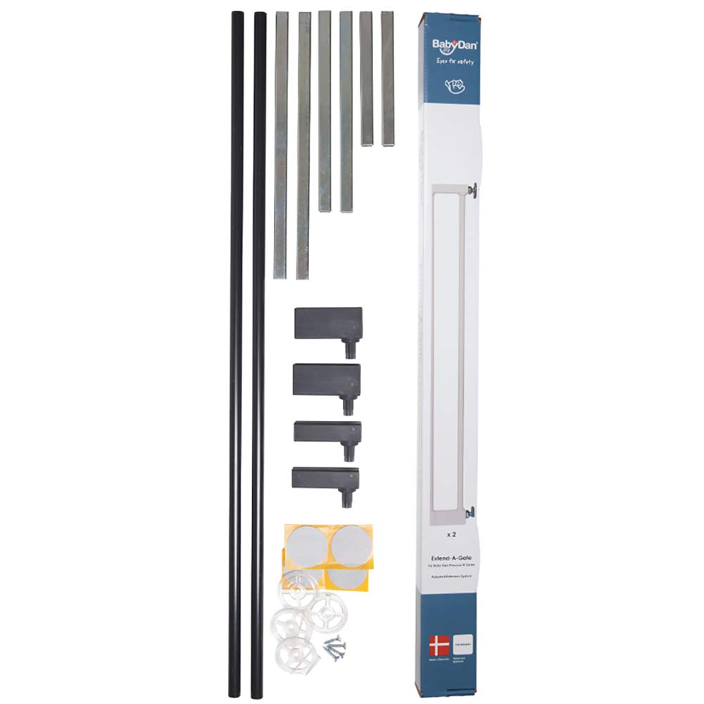 BabyDan Premier Extend-A-Gate Easy Installation 2-Inch x 2.8-Inch Metal Home Baby and Pet Gate Extension Kit, Black
