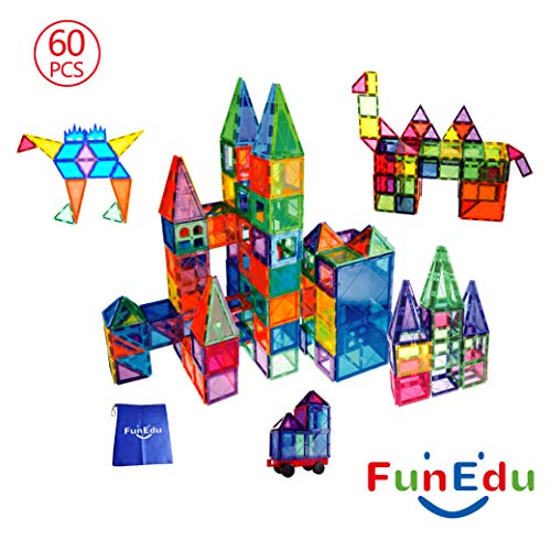 60-piece Magnetic tiles Building Blocks Toys Set, Powerful Magnets, Various Shapes, One Magnetic Wheel Base, Four Magnetic Windows, One Bonus Bag, for Kids, Toddlers