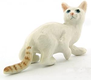 ChangThai Design Dollhouse Miniatures Ceramic White Tabby Bengal Cat No. 2 FIGURINE Animals Decor
