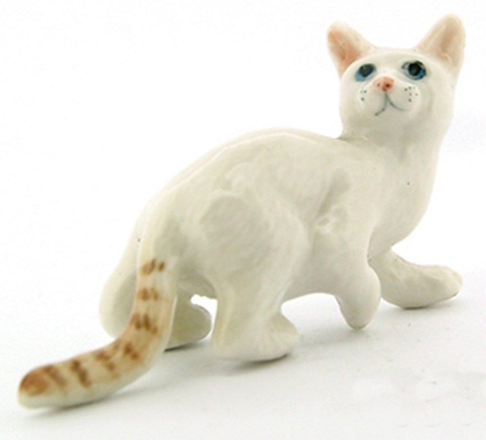 ChangThai Design Dollhouse Miniatures Ceramic White Tabby Bengal Cat No. 2 FIGURINE Animals Decor by ChangThai Design