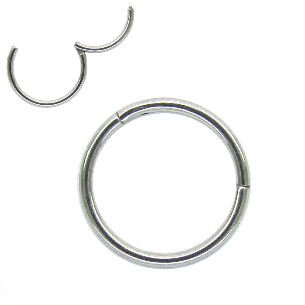 NewkeepsR 18G 8mm(5/16'') Hinged Clicker Nose Hoop Ring 316L Steel Seamless Segment Sleeper Earrings Cartilage Piercing