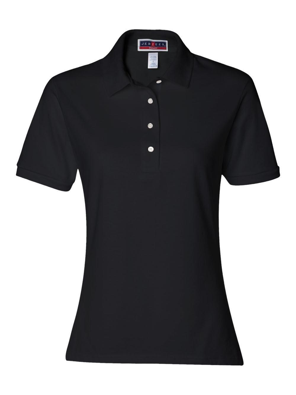 Jerzees womens 5.6 oz. 50/50 Jersey Polo with SpotShield(437W)-BLACK-2XL