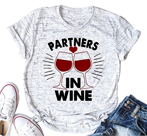 VILOVE Partner in Wine T Shirt Letter Printed Funny Cute Tee O-Neck Casual Shirt Top (X-Large, White) ()