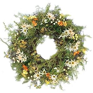 Emlyn Silk Decorative Front Door Wreath 16 Inch - Year Round Beautiful Silk Wreath Transforms Front Door Decor,Wedding, Home Decor 18