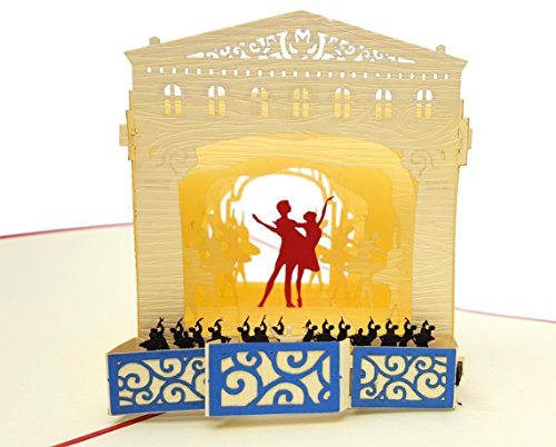 iGifts And Cards Inspirational Ballet Dancers 3D Pop Up Greeting Card - Orchestra, Beautiful, Curtains, Stage, Unique, Half-Fold, Birthday, Just Because, Thinking of You, Retirement, Congratulations