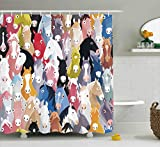 Extra Long Pink Shower Curtain Ambesonne Abstract Home Decor Collection, Pattern with Colourful Cartoon Horses Pony Childhood Childish Artwork Pattern, Polyester Fabric Bathroom Shower Curtain, 75 Inches Long, Pink Blue Green