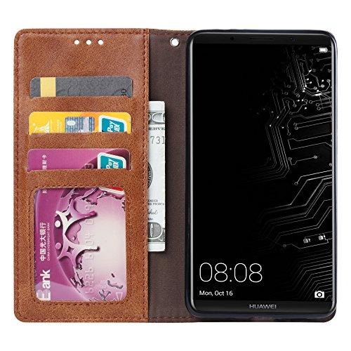 Funda Huawei Mate 10,SunFay Premium Cuero PU Cover Magnético Flip Folio Ranura para Tarjetas Protective Billetera Funda Case con Stand Función para Huawei Mate 10- Rojo Gris