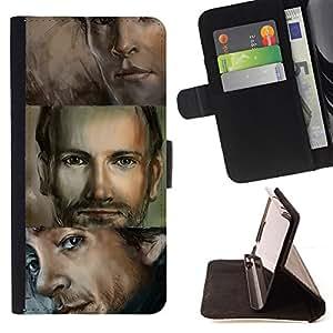 BullDog Case - FOR/HTC DESIRE 816 / - / man portrait blue eyes handsome drawing /- Monedero de cuero de la PU Llevar cubierta de la caja con el ID Credit Card Slots Flip funda de cuer